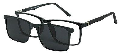 Armação Óculos Receituário e Sol Clipon Com 1 Lente AT 5031 Preto