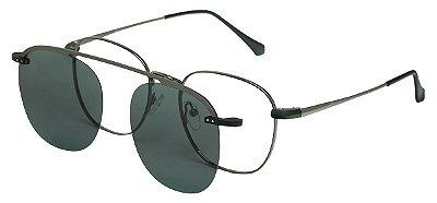 Armação Óculos Receituário e Sol Clipon Com 1 Lente AT 3011 Chumbo