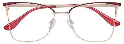 Armação Óculos Receituário AT 1019 Vermelho/Dourado