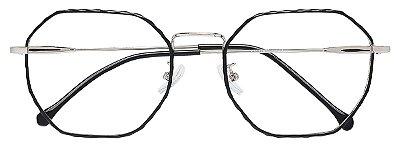 Armação Óculos Receituário AT 9285 Preto/Prata Hexagonal