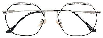 Armação Óculos Receituário AT 9162 Prata/Preto Hexagonal
