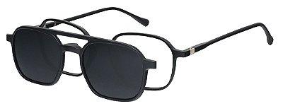 Armação Óculos Receituário e Sol Clipon Com 1 Lente AT 2307 Preto
