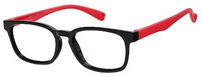 Armação Óculos Receituário Infantil AT 8139 Preto/Vermelho (04 A 12 Anos)