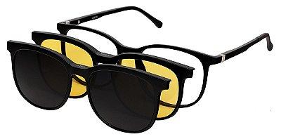 Armação Óculos Receituário e Sol 9215 Clipon com 2 Lentes Preto