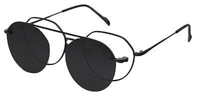 Armação Óculos Receituário e Sol 66019 Clipon com 1 Lente Preto