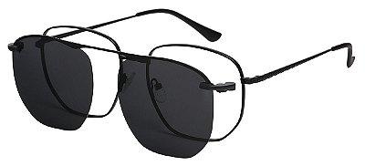Armação Óculos Receituário e Sol 8002 Clipon com 1 Lente Polarizado Preto