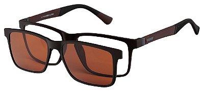 Armação Óculos Receituário e Sol Clipon Com 1 Lente AT 5024 Marrom