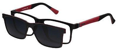 Armação Óculos Receituário e Sol Clipon Com 1 Lente AT 5024 Preto/Vermelho