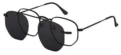 Armação Óculos Receituário e Sol Clipon Com 1 Lente AT 88009 Preto
