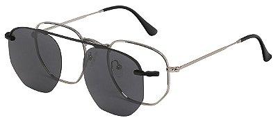 Armação Óculos Receituário e Sol Clipon Com 1 Lente AT 88009 Prata