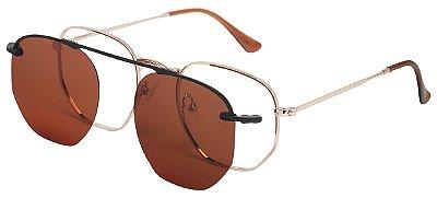 Armação Óculos Receituário e Sol Clipon Com 1 Lente AT 88009 Dourado