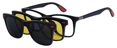 Armação Óculos Receituário e Sol Clipon Com 2 Lentes AT 2317 Preto