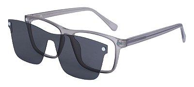 Armação Óculos Receituário e Sol Clipon Com 1 Lente AT 206049 Cinza Transparente