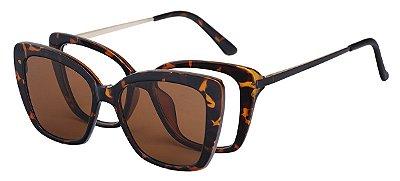 Armação Óculos Receituário e Sol Clipon Com 1 Lente AT 206035 Tartaruga