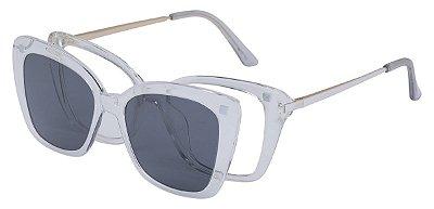 Armação Óculos Receituário e Sol Clipon Com 1 Lente AT 206035 Transparente