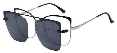 Armação Óculos Receituário e Sol Clipon Com 1 Lente AT 88023 Azul/Prata