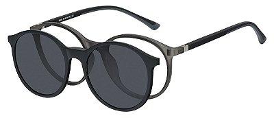 Armação Óculos Receituário e Sol Clipon Com 1 Lente AT 6008 Cinza Transparente