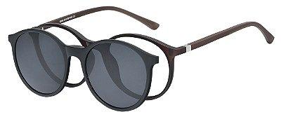 Armação Óculos Receituário e Sol Clipon Com 1 Lente AT 6008 Marrom