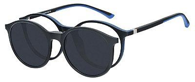 Armação Óculos Receituário e Sol Clipon Com 1 Lente AT 6008 Preto/Azul