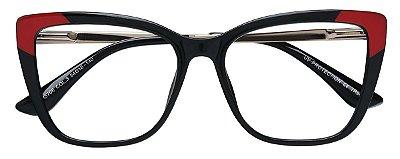 Armação Óculos Receituário AT 5706 Preto/Vermelho