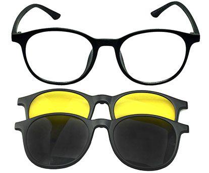 Óculos Armação Grau e Sol Clipon Redondo AT 3501 com 2 Lentes