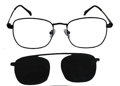 Óculos Armação Grau e Sol Clipon Masculino AT 3008 com 2 Lentes