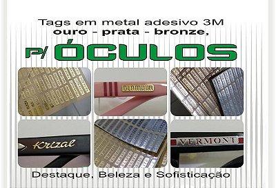 TAG Metal Adesivo 3M Personalizável para Óculos