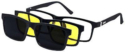 Armação Óculos Receituário e Sol 9035 Clipon com 2 Lentes Polarizado Preto