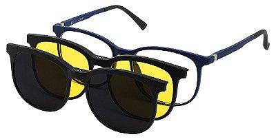 Armação Óculos Receituário e Sol 9215 Clipon com 2 Lentes Azul