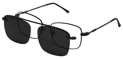 Armação Óculos Receituário e Sol 3012 Clipon com 1 Lente Polarizado Preto