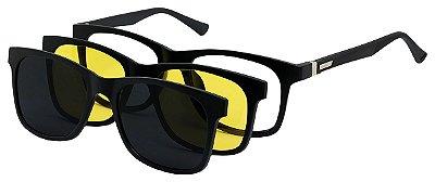 Armação Óculos Receituário e Sol 9034 Clipon Com 2 Lentes Polarizado Preto