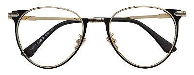 Armação Óculos Receituário AT 8003 Preto/Dourado