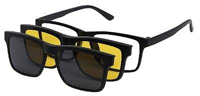 Óculos Armação Grau e Sol Clipon Masculino AT 2202 com 2 Lentes Polarizado