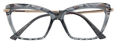 Armação Óculos Receituário AT 5546 Mosaico Quadrado Preto Transparente