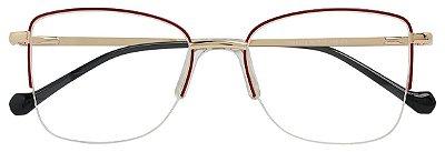 Armação Óculos Receituário AT 55502 Vermelho/Dourado