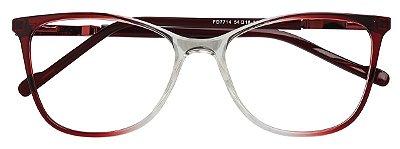 Armação Óculos Receituário AT 7714 Vermelho Degradê/Transparente
