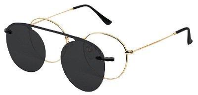 Armação Óculos Receituário e Sol AT 3040 Clipon Dourado com 1 Lente