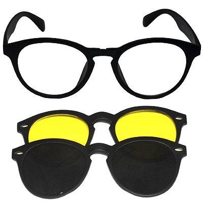Armação Óculos Receituário e Sol 2205 Clipon Preto com 2 Lentes Polarizadas