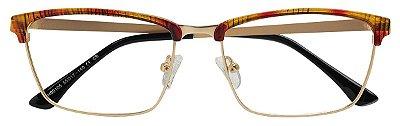 Armação Óculos Receituário AT 90105 Animal Print/Dourado