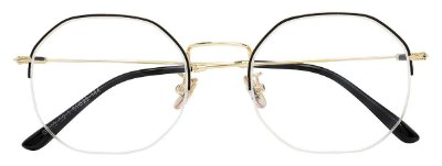 Armação Óculos Receituário AT 8012 Preto/Dourado Hexagonal