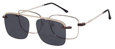 Armação Óculos Receituário e Sol 3012 Clipon com 1 Lente Polarizado Dourado