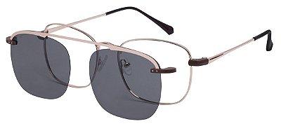 Armação Óculos Receituário e Sol Clipon Com 1 Lente AT 3008 Dourado