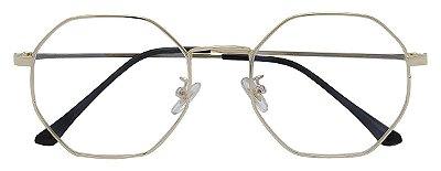 Armação Óculos Receituário AT 219 Dourado Hexagonal