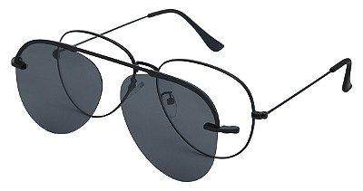 Armação Óculos Receituário e Sol Clipon Com 1 Lente AT 012 Preto