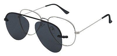 Armação Óculos Receituário e Sol 012 Clipon com 1 Lente Polarizado Prata Aviador