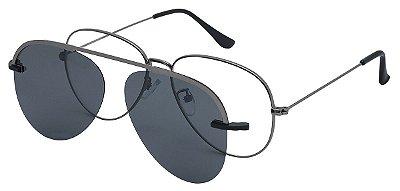 Armação Óculos Receituário e Sol 012 Clipon com 1 Lente Polarizado Chumbo Aviador
