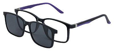 Armação Óculos Receituário e Sol 6010 Clipon com 1 Lente Polarizado Preto/Roxo