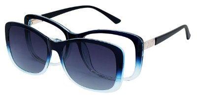 Armação Óculos Receituário e Sol 8709 Clipon com 1 Lente Polarizado Azul Degradê