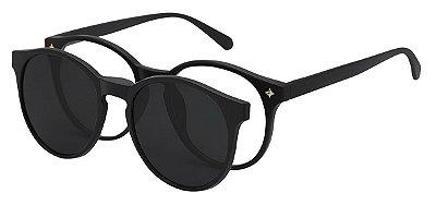 Armação Óculos Receituário e Sol 2231 Clipon com 1 Lente Polarizado Preto