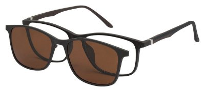 Armação Óculos Receituário e Sol 6009 Clipon com 1 Lente Polarizado Marrom